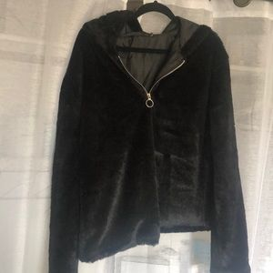Pretty little things over size fur hoodie